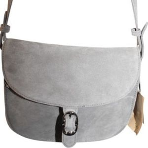 Saddle Gray Suede Leather Satchel